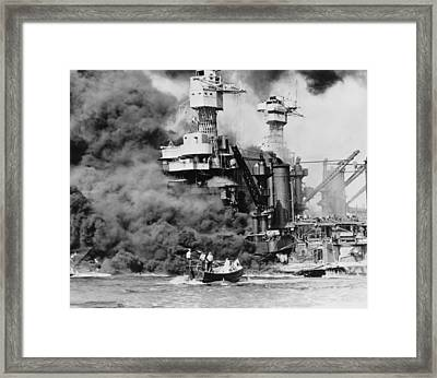 Thick Smoke Billows From The Burning Framed Print by Everett
