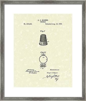 Thimble 1891 Patent Art Framed Print by Prior Art Design