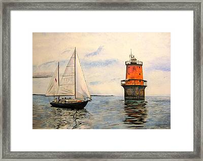 Thimble Shoals Light Framed Print by Stan Tenney