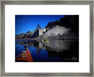 Thin Ice Kayaking Skaha Lake Framed Print by Guy Hoffman