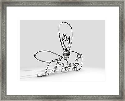 Think Bent And Shaped  Wire Lightbulb Framed Print by Allan Swart