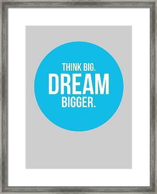 Think Big Dream Bigger Circle Poster 2 Framed Print by Naxart Studio