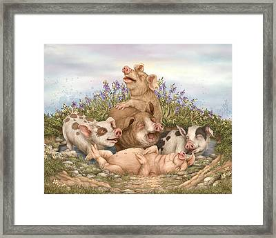 Think Happy Framed Print by Beverly Levi-Parker