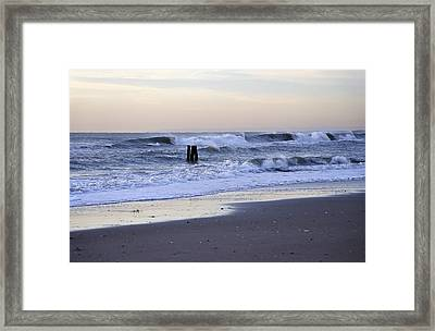 Think Metal - Morning Ocean Rockaways Framed Print