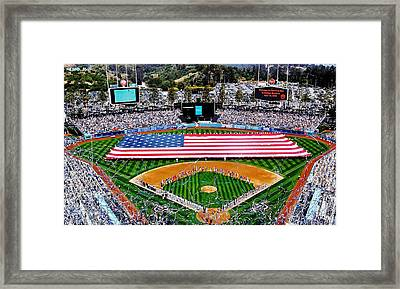 Think Red White And Blue Framed Print by Benjamin Yeager