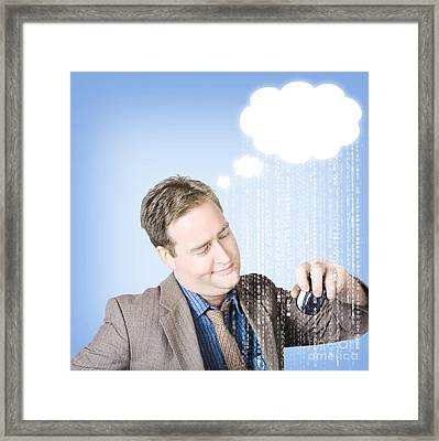 Thinking Business Man With Cloud Computer Idea Framed Print