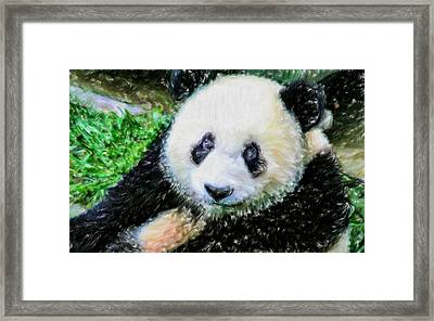 Framed Print featuring the painting Thinking Of David Panda by Lanjee Chee