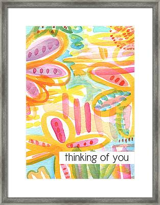 Thinking Of You- Flower Card Framed Print by Linda Woods