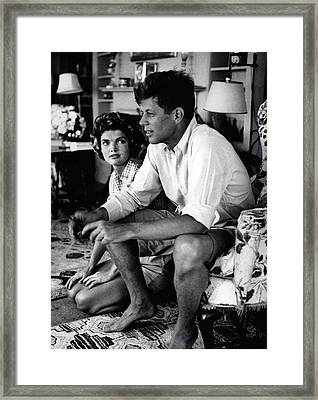 John F. Kennedy And Jackie Onassis Framed Print