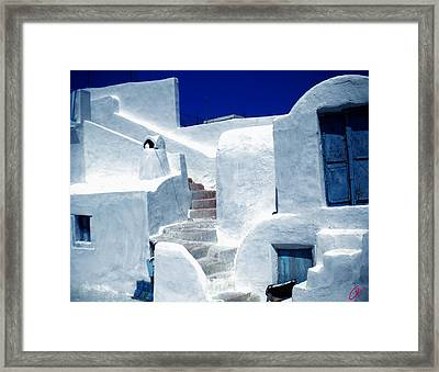 Thirasia Island Ancient House Near Santorini Greece Framed Print