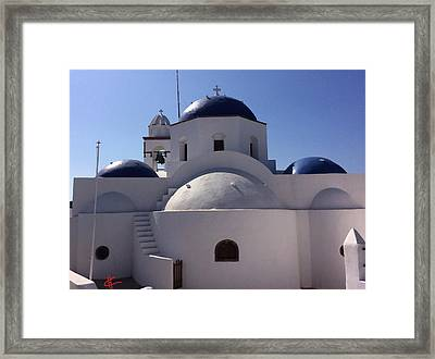 Thirasia Santorini Island Greece Framed Print