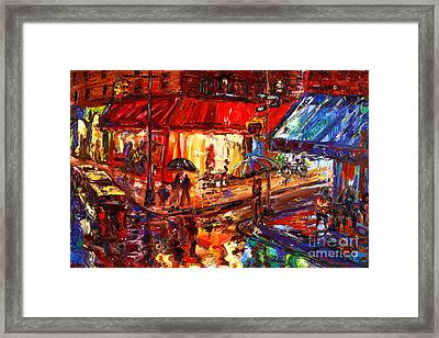 Third And Mcdougal In The Rain Framed Print by Arthur  Robins