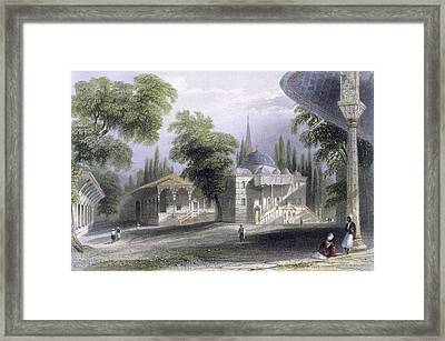 Third Court Of The Serai Bournou, C.1850 Framed Print by William Henry Bartlett