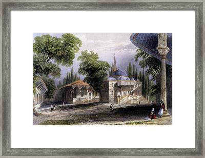 Third Court Of The Serai Bownou, 1850 Framed Print by William Henry Bartlett