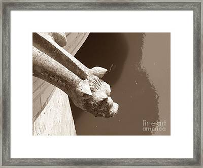 Framed Print featuring the photograph Thirsty Gargoyle - Sepia by HEVi FineArt
