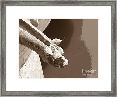 Thirsty Gargoyle - Sepia Framed Print