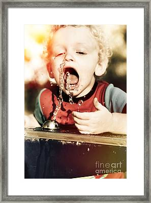 Thirsty Young Blond Child Drinking From Tap Framed Print