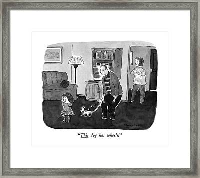 This Dog Has Wheels! Framed Print by Danny Shanahan