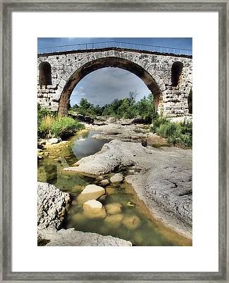 This Is A Roman Bridge, Called Pont Framed Print by Julie Eggers