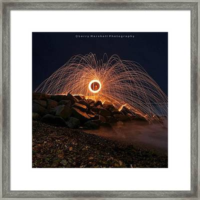 This Is A Shot Of Me Spinning Burning Framed Print by Larry Marshall