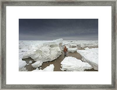 This Is How Thick Ice In Wellfleet Cape Cod Framed Print by Dapixara