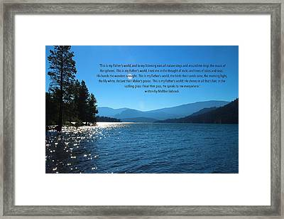 This Is My Fathers World Framed Print by Lynn Hopwood