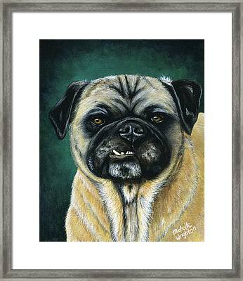 This Is My Happy Face - Pug Dog Painting Framed Print