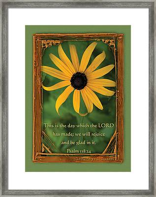 This Is The Day Sunflowers Framed Print by Denise Beverly