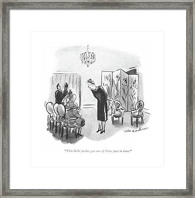 This Little Jacket Got Out Of Paris Just In Time Framed Print by Helen E. Hokinson