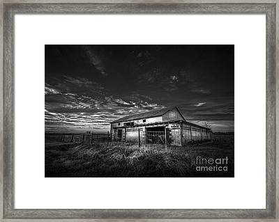 This Old Barn-b/w Framed Print by Marvin Spates