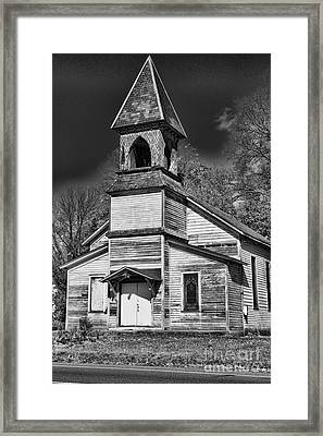 This Old Church In Black And White Framed Print