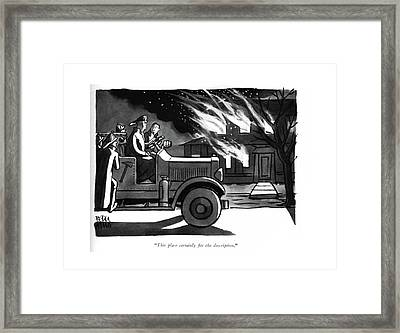 This Place Certainly ?ts The Description Framed Print by Peter Arno