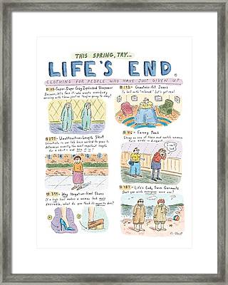 This Spring Try Life's End:  'clothing For People Framed Print by Roz Chas