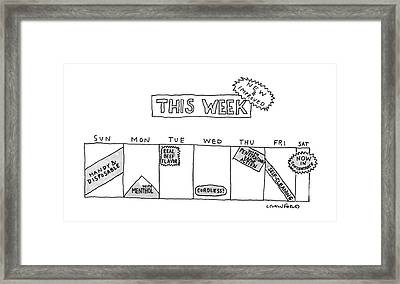 This Week-new And Improved Framed Print by Michael Crawford