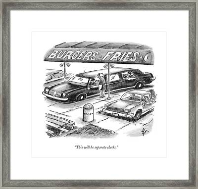 This Will Be Separate Checks Framed Print by Frank Cotham