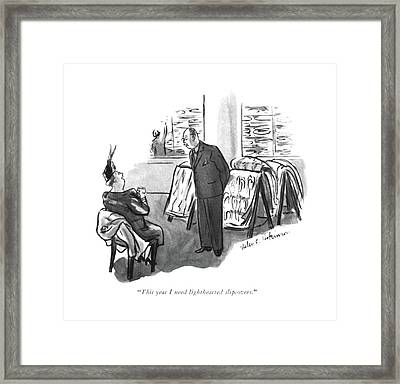 This Year I Need Lighthearted Slipcovers Framed Print by Helen E. Hokinson