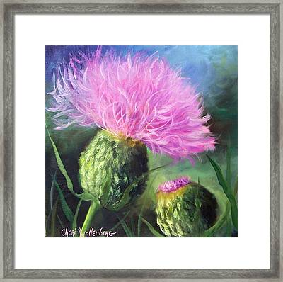 Framed Print featuring the painting Thistle by Cheri Wollenberg