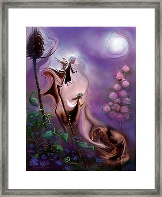 Thistle Fairies By Moonlight Framed Print by Terry Webb Harshman
