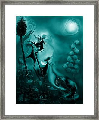 Thistle Fairies In Monochrome Framed Print by Terry Webb Harshman
