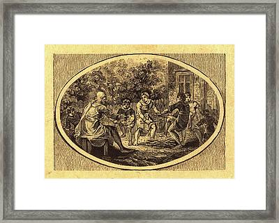 Thomas Bewick, British 1753-1828, The Boasting Traveler Framed Print by Litz Collection
