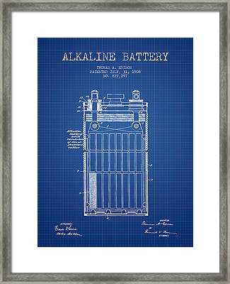 Thomas Edison Alkaline Battery From 1906 - Blueprint Framed Print by Aged Pixel