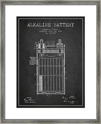 Thomas Edison Alkaline Battery From 1906 - Charcoal Framed Print by Aged Pixel