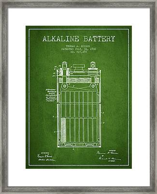 Thomas Edison Alkaline Battery From 1906 - Green Framed Print by Aged Pixel