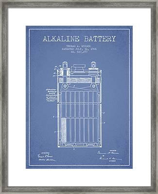 Thomas Edison Alkaline Battery From 1906 - Light Blue Framed Print by Aged Pixel