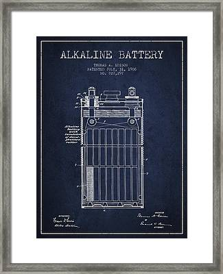Thomas Edison Alkaline Battery From 1906 - Navy Blue Framed Print by Aged Pixel