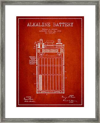 Thomas Edison Alkaline Battery From 1906 - Red Framed Print by Aged Pixel