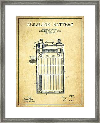 Thomas Edison Alkaline Battery From 1906 - Vintage Framed Print by Aged Pixel