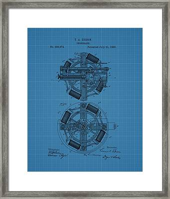 Thomas Edison Blueprint Phonograph Framed Print by Dan Sproul