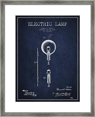 Thomas Edison Electric Lamp Patent From 1880 - Blue Framed Print
