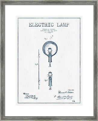 Thomas Edison Electric Lamp Patent From 1880 - Blue Ink Framed Print